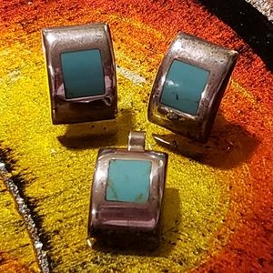 Jewelry - Modernist Silver Turquoise Earrings + Pendant Set